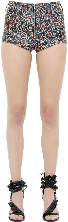 Isabel MarantFloral Printed Nappa Leather Shorts