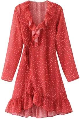 Goodnight Macaroon 'Alpha' Retro Mini Star Print Pin Dot Frill Wrap Dress