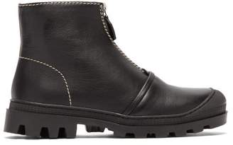 Loewe Zip Front Leather Ankle Boots - Womens - Black