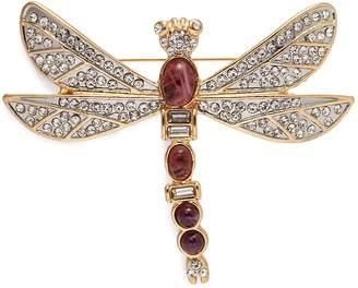 Kenneth Jay Lane Cabochon glass crystal dragonfly brooch