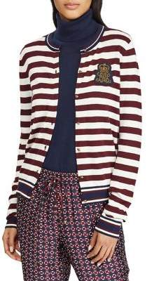 Lauren Ralph Lauren Long-Sleeve Striped Slim-Fit Cardigan