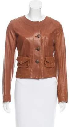 Donna Karan Scoop Neck Leather Jacket