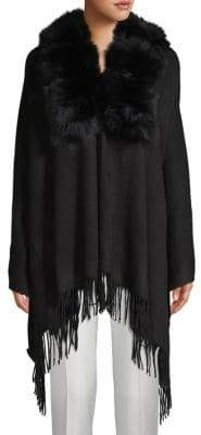 Belle Fare Dyed Fox & Rabbit Fur Collar, Wool & Cashmere Poncho