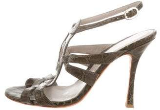 Sergio Rossi Embossed Leather Ankle Strap Sandals
