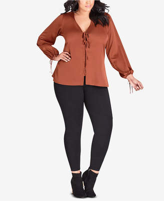 City Chic Plus Size Femme Fatale Lace-Up Top