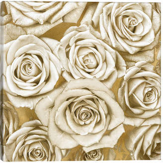 iCanvas icanvasart Ivory Roses On Gold By Kate Bennett