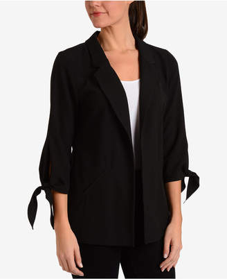 NY Collection Tie-Sleeve Jacket