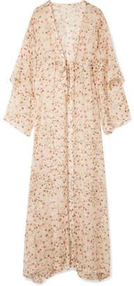 Paloma Blue Sunset Floral-print Silk-chiffon Kimono