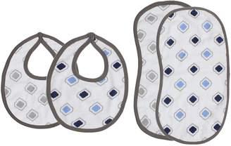 Bacati Moroccan Tiles Muslin 4 Piece Set of Burpies or Bibs