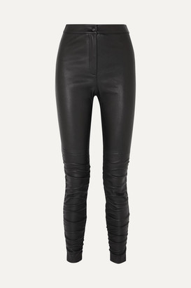 Alexander Wang Ruched Stretch-leather Skinny Pants - Black