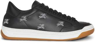 Burberry Equestrian Knight Embroidered Leather Sneakers