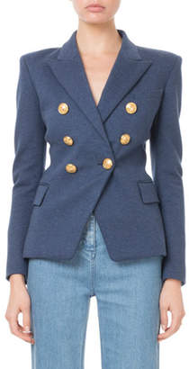 Balmain Double-Breasted Golden-Button Classic Jersey Blazer