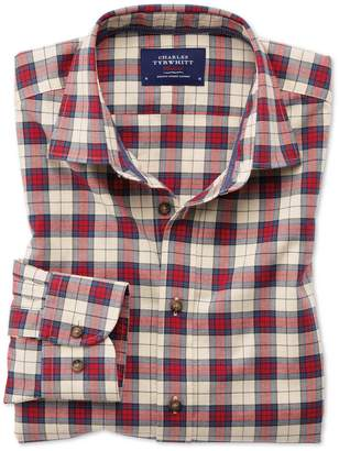 Charles Tyrwhitt Slim Fit Heather Tartan Red Check Cotton Casual Shirt Single Cuff Size XS