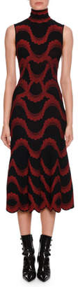 Alexander McQueen Turtleneck Sleeveless Victorian Beaded-Jacquard Body-con Midi Dress
