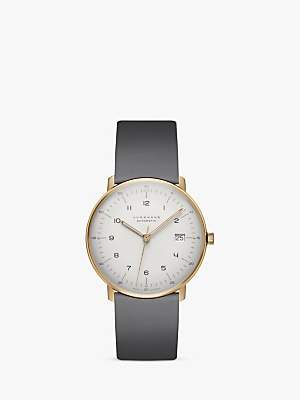 Junghans 027/7806.00 Unisex Max Bill Automatic Date Leather Strap Watch, Grey/White