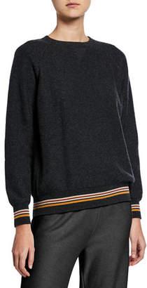 Loro Piana Cashmere Crewneck Suitcase-Striped Sweater