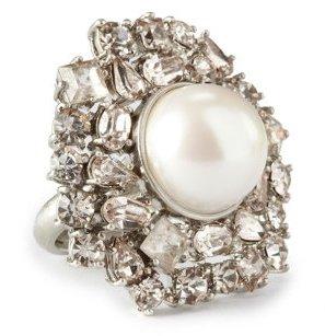 Pearl & Rhinestone Cluster Ring