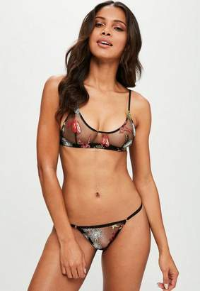 Missguided Black Embroidered Bralette