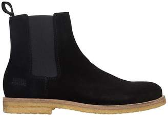 National Standard Black Suede Chelsea Boots
