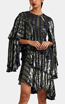 Osman Women's Tina Asymmetric Tiered Sequined Minidress - Navy
