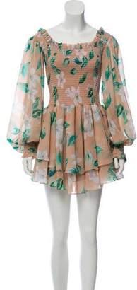 Caroline Constas Floral Ruffled Dress