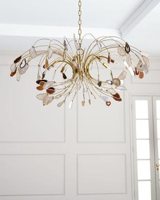 John-Richard Collection John Richard Collection Agate and Brass 8-Light Chandelier