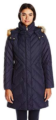 Larry Levine Women's Mid-Length Down Coat with Hood