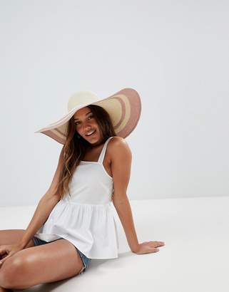 Asos Straw Floppy Hat With Metallic Brim And Size Adjuster