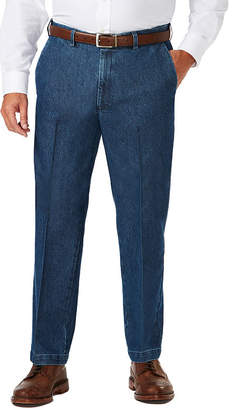 Haggar Stretch Denim Ff Classic Fit Flat Front Pants-Big and Tall