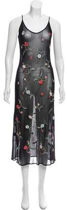 Vivienne Tam Sleeveless Mesh Embroidered Midi Dress