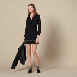 Sandro Short Dress With Pleats And Studs