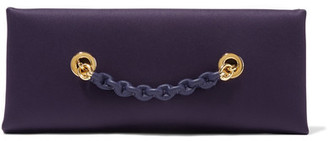 TOM FORD - Leather-trimmed Satin Clutch - Dark purple $1,850 thestylecure.com