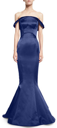 Zac Posen Folded Off-the-Shoulder Satin Trumpet Gown, Amethyst $4,990 thestylecure.com