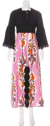 Anna Sui Long Sleeve Maxi Dress