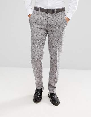 Blend of America ASOS DESIGN ASOS Skinny Suit Pants In Pink Flecked Wool