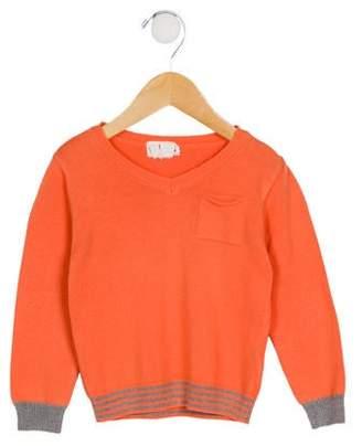 Arsène et les Pipelettes Girls' One-Pocket V-Neck Sweater