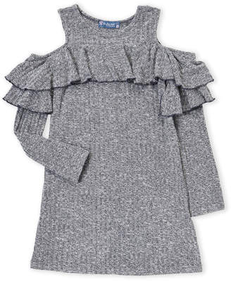 Truly Me Girls 7-16) Cold Shoulder Flounce Sweater Tunic