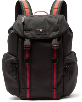 Gucci Techno Web Stripe Canvas Backpack - Mens - Black