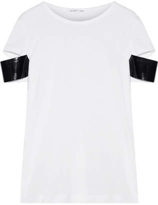 Helmut Lang Faux Patent Leather-trimmed Pima Cotton-jersey T-shirt - White