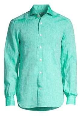 Kiton Solid Linen Button-Down Shirt