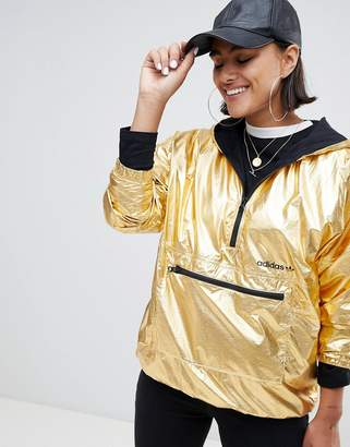 adidas Half Zip Hooded Jacket In High Shine Gold