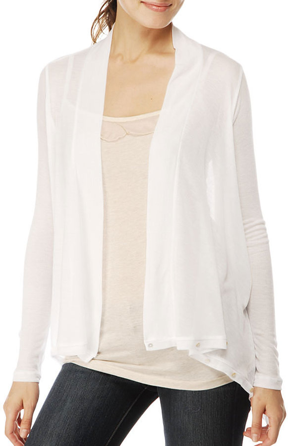 Ribbed Feather Tencel Wrap Cardigan