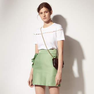 Sandro Cotton blend skirt with ruffled pockets