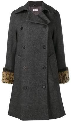 Kiltie fur cuff double breasted coat