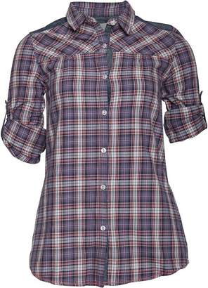 Converse Womens Tonia Waist Tie Checked Long Sleeve Tunic Shirt Vintage Indigo