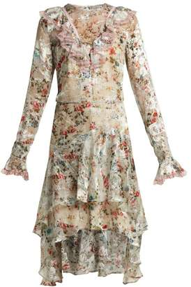 Preen by Thornton Bregazzi Doris Floral Print Silk Blend Devore Dress - Womens - Ivory Multi