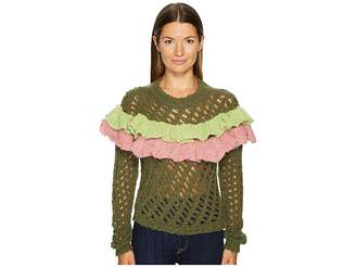 Moschino Green Ruffle Sweater Women's Sweater