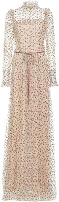 Monique Lhuillier Ruffle Neck Long Sleeve Gown