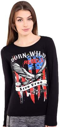 Roland Mouret Fashions Womens Long Sleeves Printed USA Flag Born Wild Vintage T Shirt Top M/L