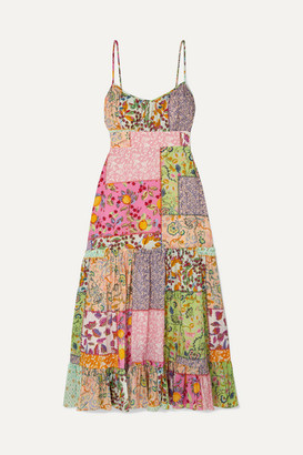Saloni Bella Tiered Printed Cotton-blend Seersucker Midi Dress - Pink